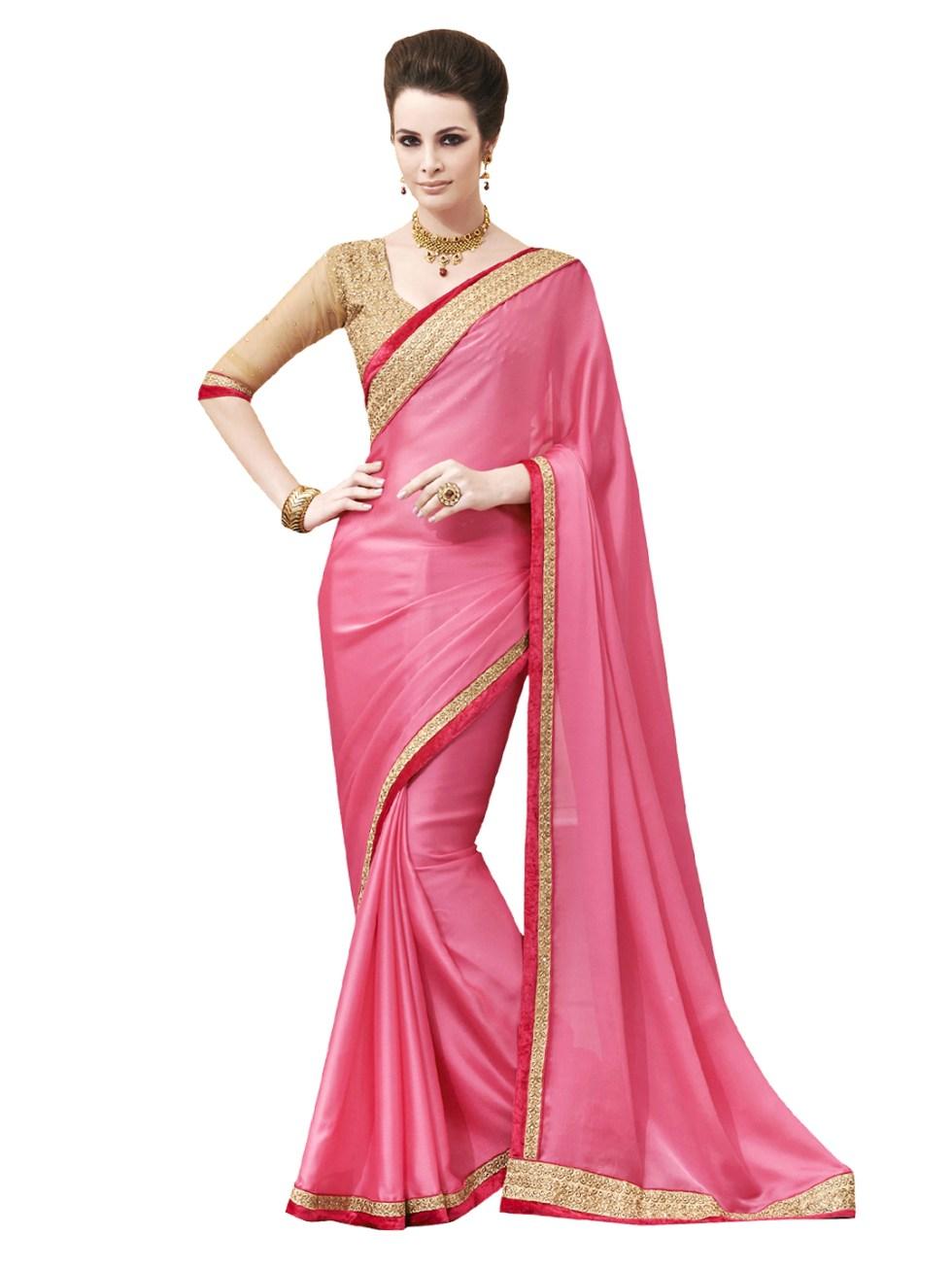 Myntra Indian Women Pink Chiffon Fashion Saree 594755 ...
