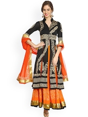 Ira Soleil Black & Orange Printed Lehenga Choli with Dupatta