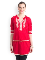 Bohemian You Women Red Embroidered Tunic