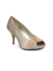 Carlton London Women Nude Coloured Embellished Peep Toes