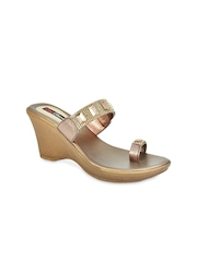 Get Glamr Women Copper-Toned Wedges
