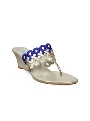 Metro Women Blue & Silver-Toned Wedges