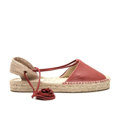 Soludos Women Brick Red Tie- Up Leather Espadrilles