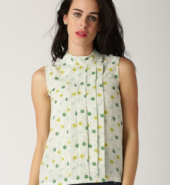 All About You from Deepika Padukone White & Green Printed Georgette Pleated Top
