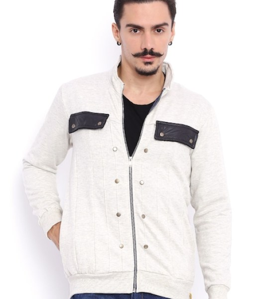 Campus Sutra Off-White Jacket with Studded Detail