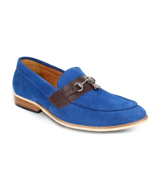 LUJO Men Blue Handmade Leather Tassel Loafers