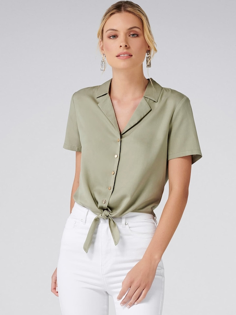 Forever New Women Olive Green Regular Fit Solid Casual Shirt
