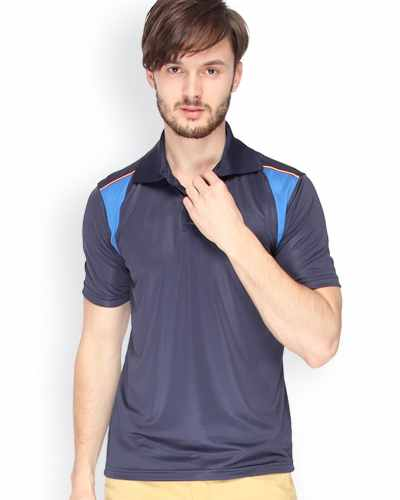 Campus Sutra Navy Dry Fit Polo T-shirt