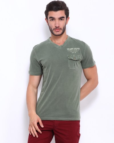 U.S. Polo Assn. Men Olive Green T-shirt