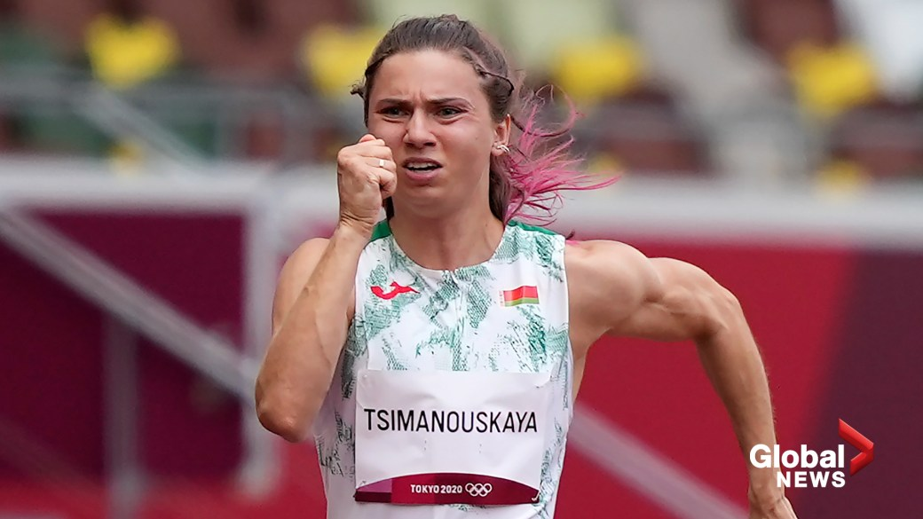 Click to play video: 'Tokyo Olympics: Sprinter Krystsina Tsimanouskaya seeks asylum in Poland amid standoff with Belarus'