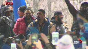 'Shirts optional': Blue Bombers Grey Cup parade dance party at The Forks