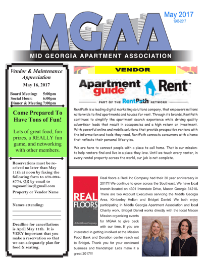 May 2017 Newsletter Mid Georgia Apartment Association