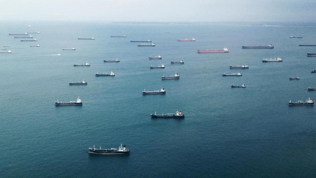 A flotilla of dozens of ships seen from above