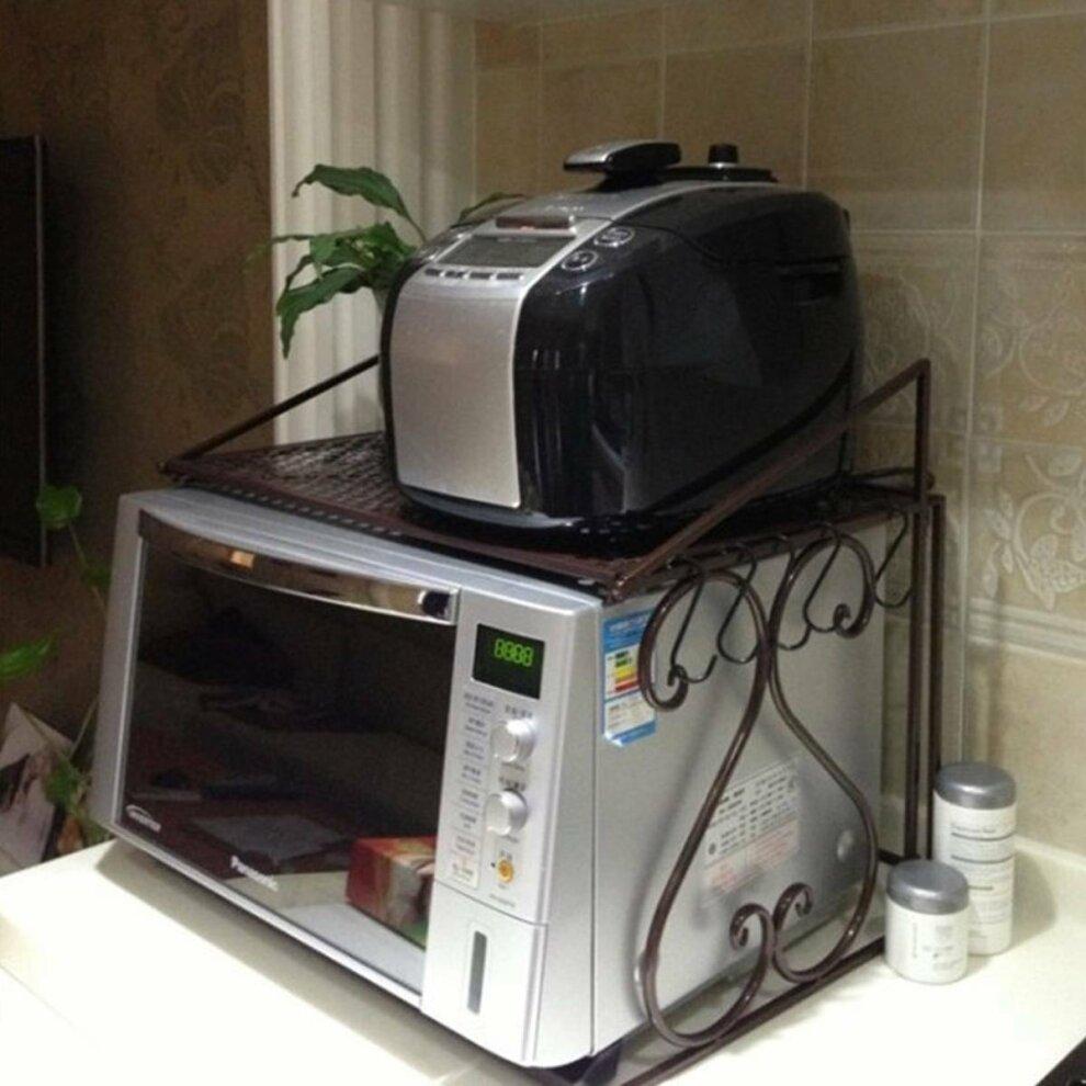 2 tier microwave oven rack stand storage holder kitchen corner shelf