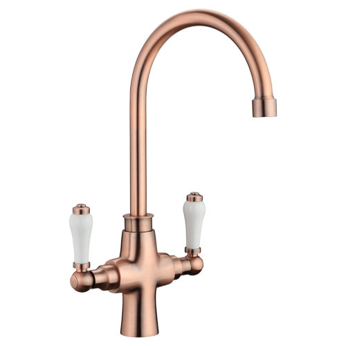 traditional antique copper kitchen sink mixer tap