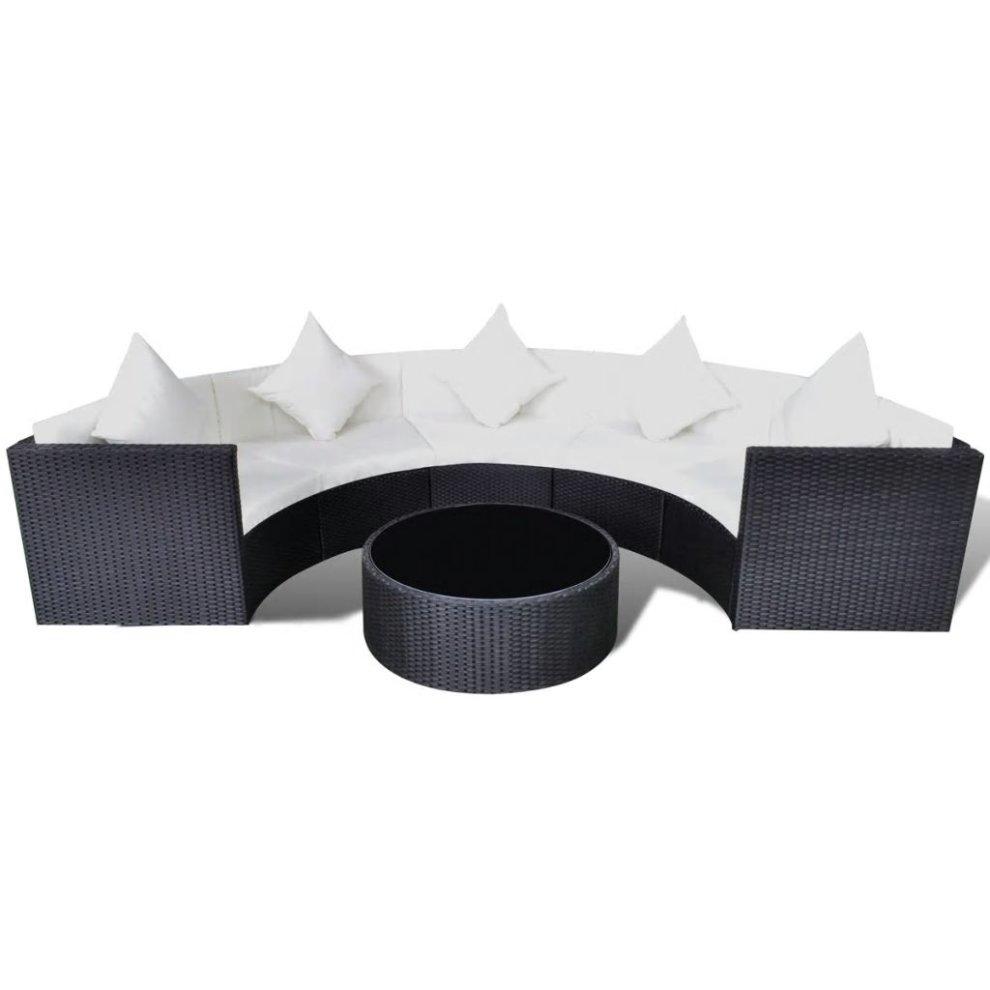vidaxl garden sofa set half round poly rattan black outdoor patio furniture