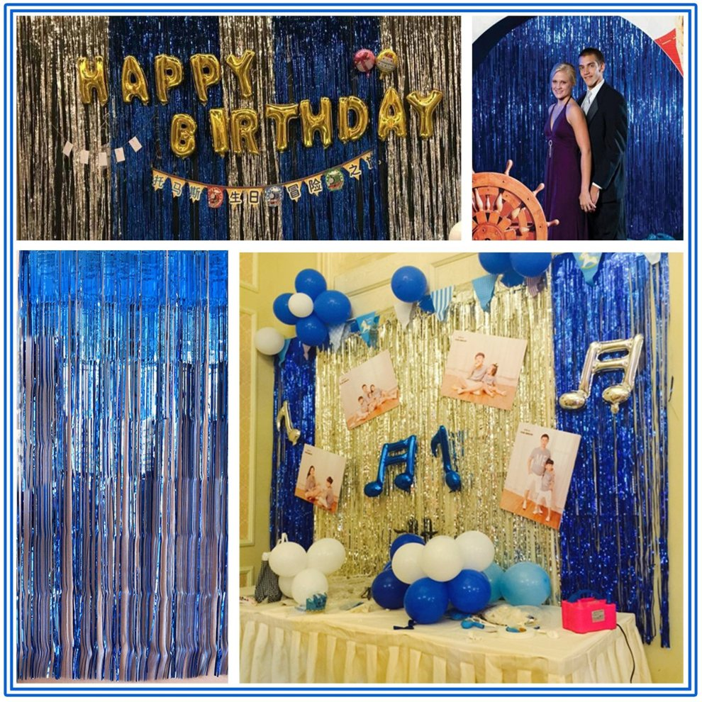3 pack foil shimmer curtain 3ft x 13ft large metallic tinsel backdrop curtains foil fringe curtains reuseble party decorations tassels of door
