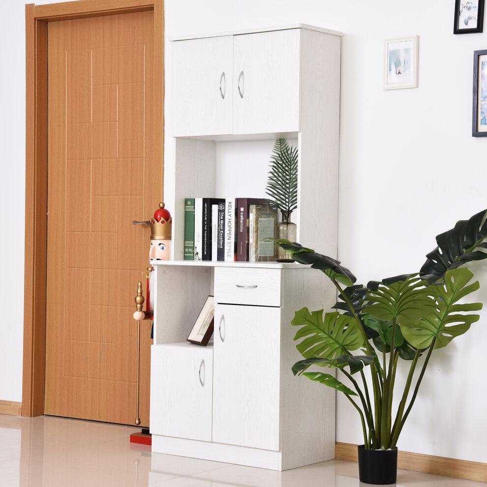 Homcom Freestanding Kitchen Cabinet Storage Unit Pantry Cupboard Organiser On Onbuy