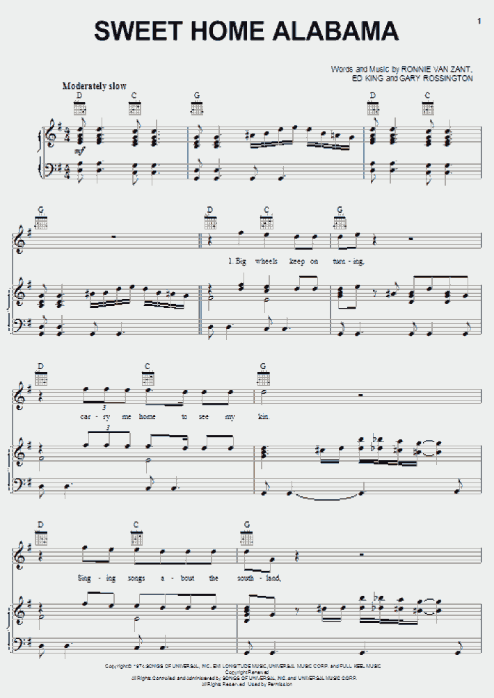 Brandy kraemer go to chord: Sweet Home Alabama Piano Sheet Music Onlinepianist