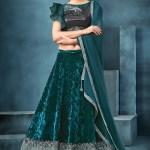 Green Velvet Lehenga Choli With Dupatta 2073lg05