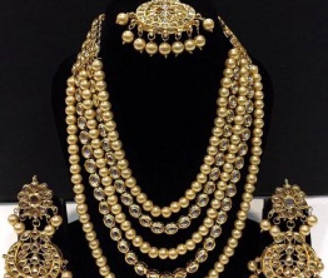 Indian Jewelry Sets Buy Golden Kundan Stone Studded Layered Neckalce In Usa
