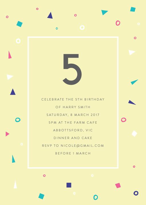 5th birthday invitations customize