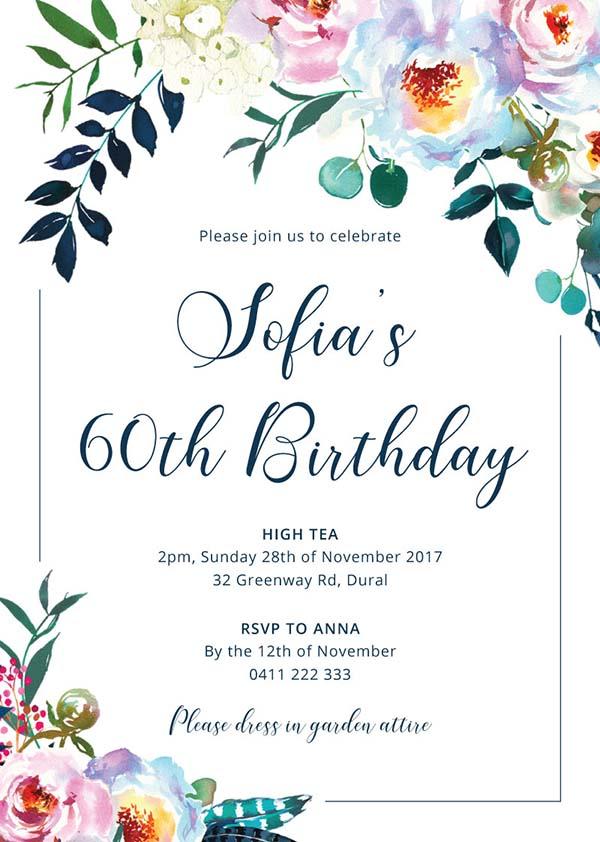 birthday party invitations customize