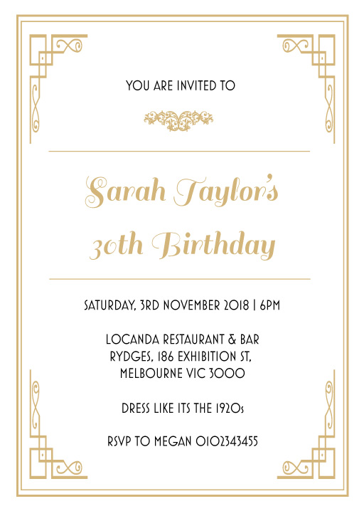 40th birthday invitations customise