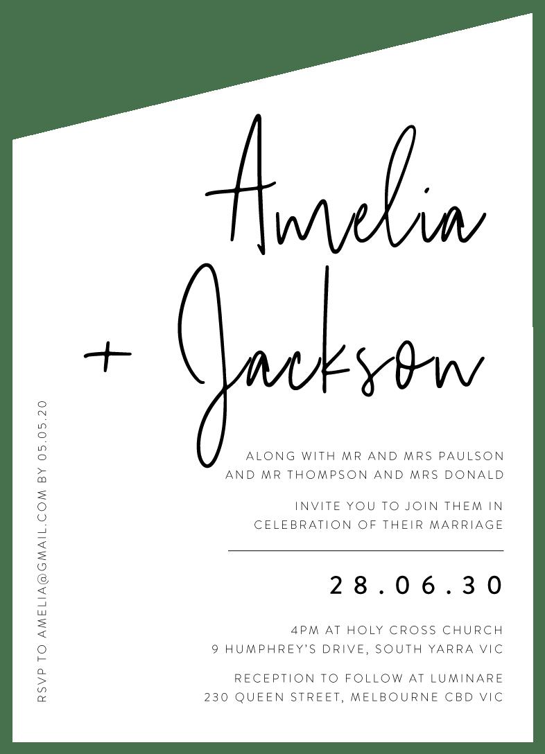 black wedding invitations designs by