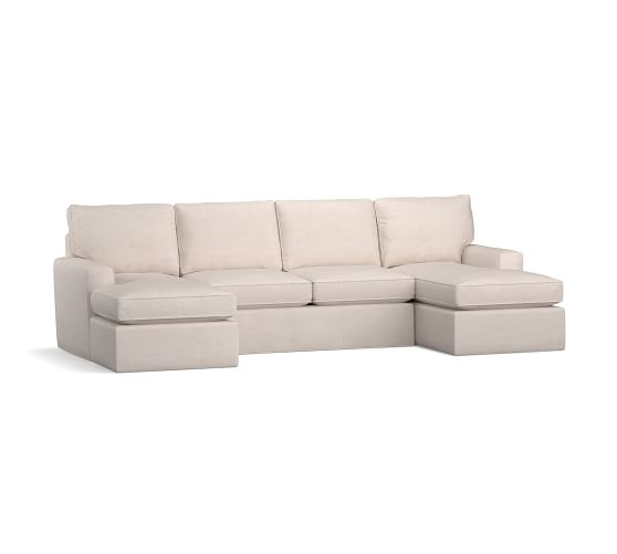 pearce square arm slipcovered u shaped chaise sectional
