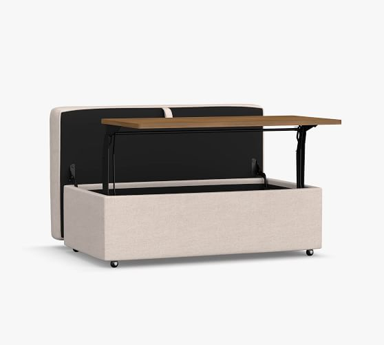 pb comfort upholstered storage ottoman with pull out table