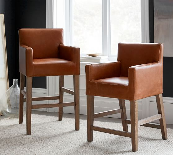 classic leather bar counter stools