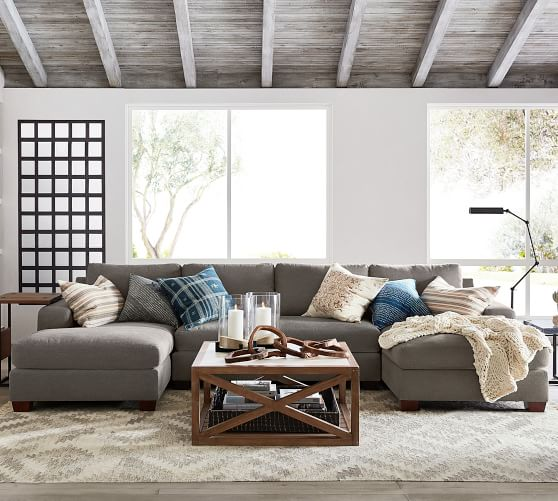 big sur square arm upholstered u shaped chaise sectional
