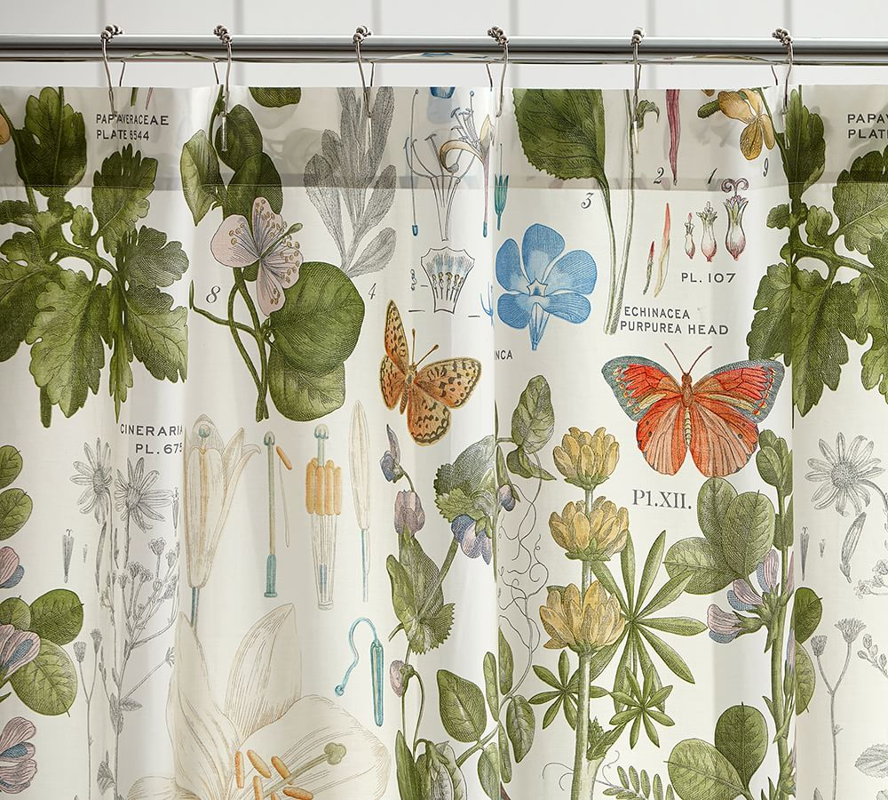 poppy botanical organic shower curtain