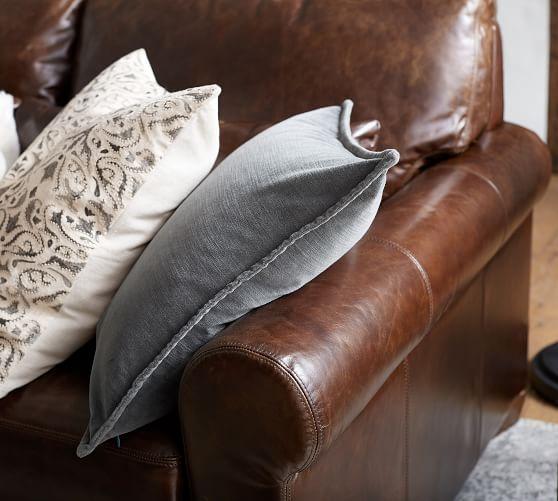 cameron roll arm leather sofa