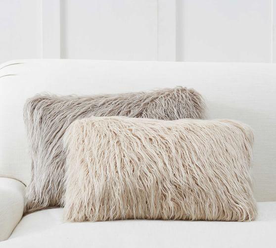mongolian faux fur lumbar pillow covers