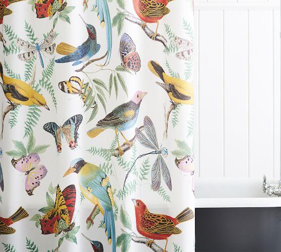 fauna bird cotton shower curtain