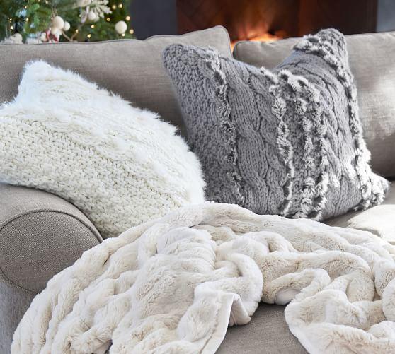 faux fur cable knit pillow covers