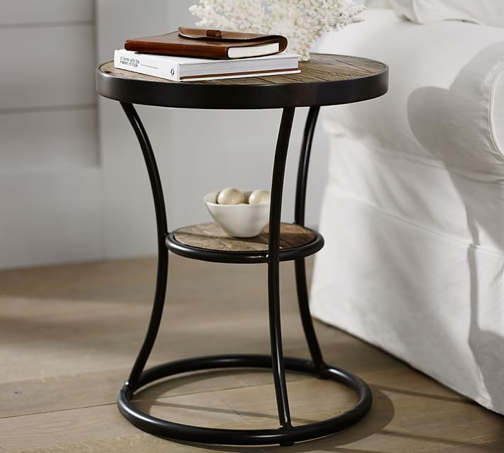 bartlett 20 round reclaimed wood end table