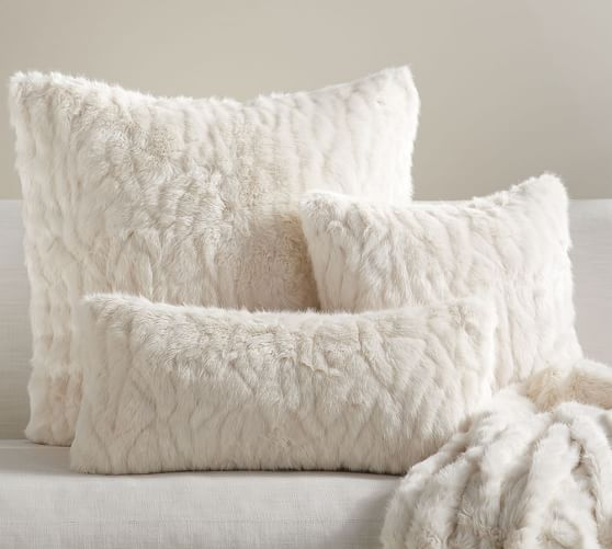 gathered faux fur pillow cover ivory