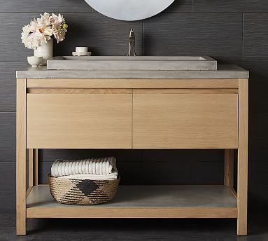 rilen 48 handcrafted single sink vanity with trough sink