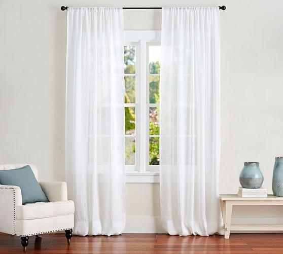 belgian flax linen rod pocket sheer curtain
