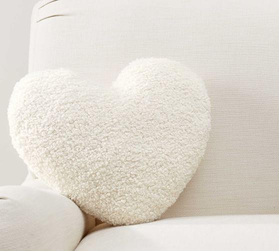 cozy teddy faux fur heart shaped pillow
