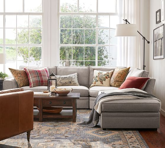 pearce square arm upholstered 3 piece bumper sectional