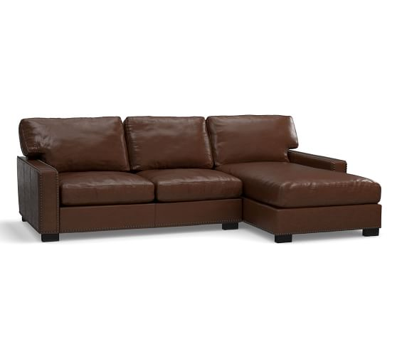 turner square arm leather sofa chaise sectional with nailheads