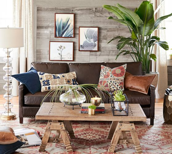 tyler leather square arm sofa with nailheads