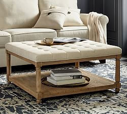 tufted coffee table pottery barn