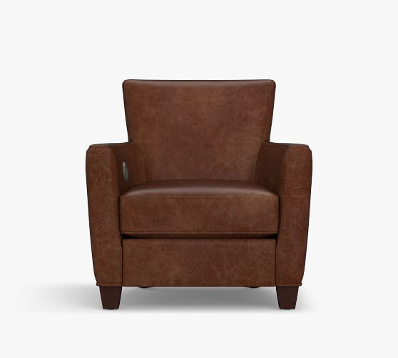irving square arm leather armchair with power foot rest
