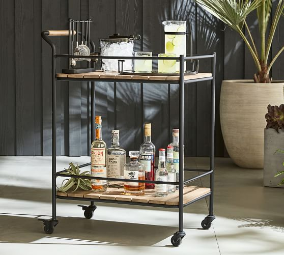 tulum 29 fsc acacia patio bar cart