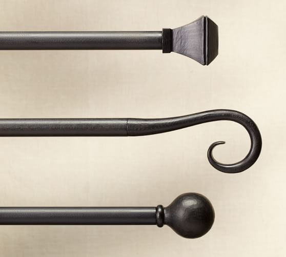 cast iron square finial curtain rod